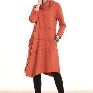 NWOT Cynthia Ashby Cowl neck asymmetrical dress